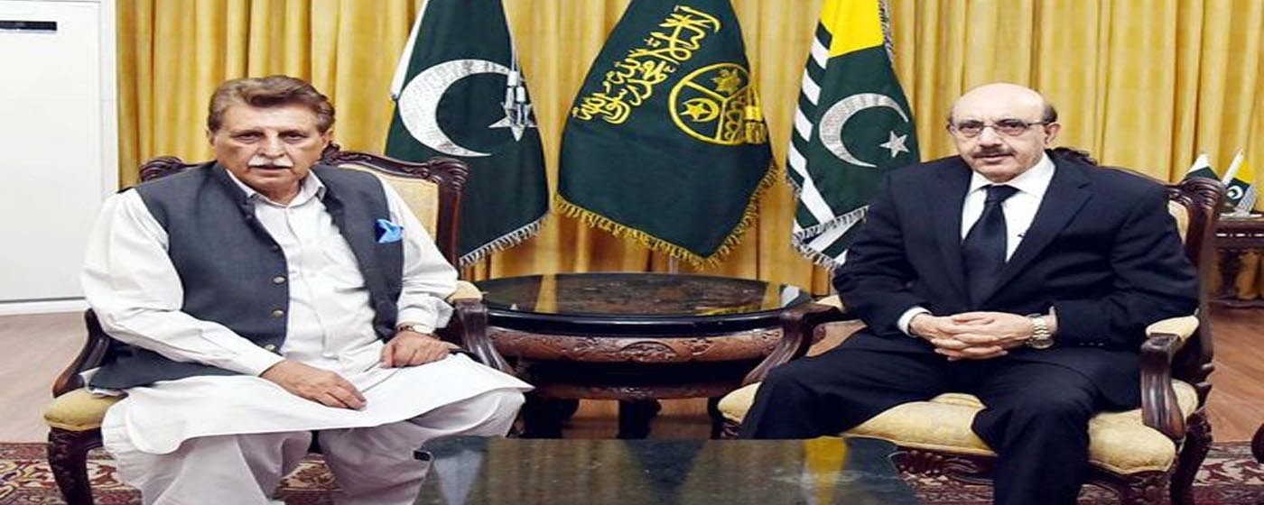 Islamabad: PM AJ&K Raja Muhammad Farooq Haider Khan and President AJ&K Sardar Masood Khan in a meeting at President House Islamabad.