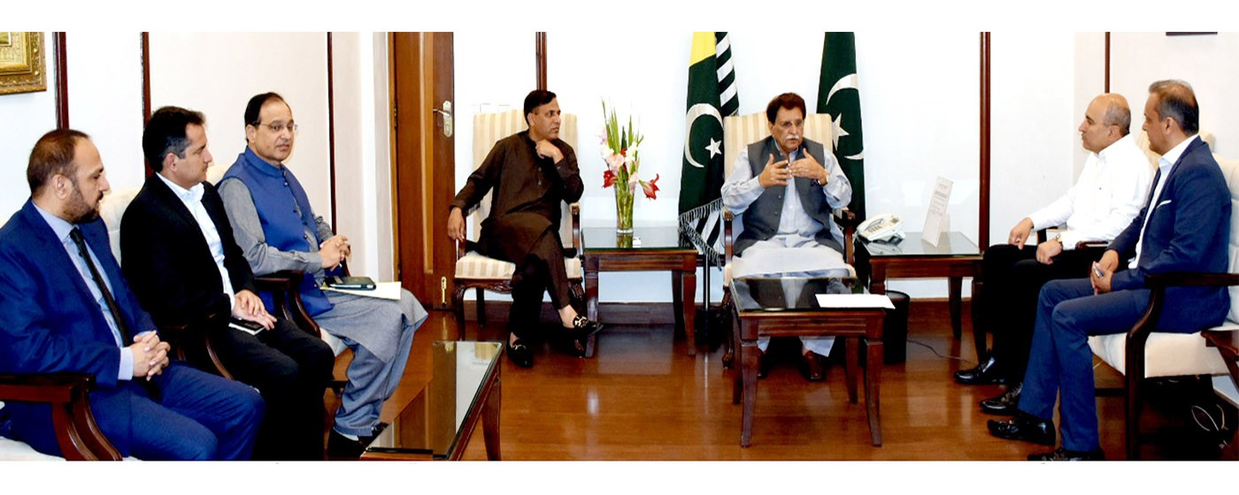 Islamabad: C E O Telenor Pakistan called on PM AJ&K  Raja Muhammad Farooq Haider Khan along with Minister TAVETA , IT Dr. Mustafa Basheer, DG IT Dr. Khalid Rafique and others.