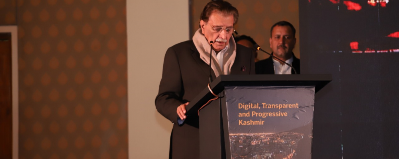 Prime Minister of AJ&K Raja Muhammad Farooq Haider Khan while addressing to the Progressive and Digital Kashmir Conference.