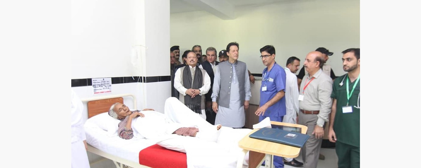 Mirpur: PM Pakistan Imran Khan visits the Earthquake injured patients at District Headquarter Hospital in Mirpur.