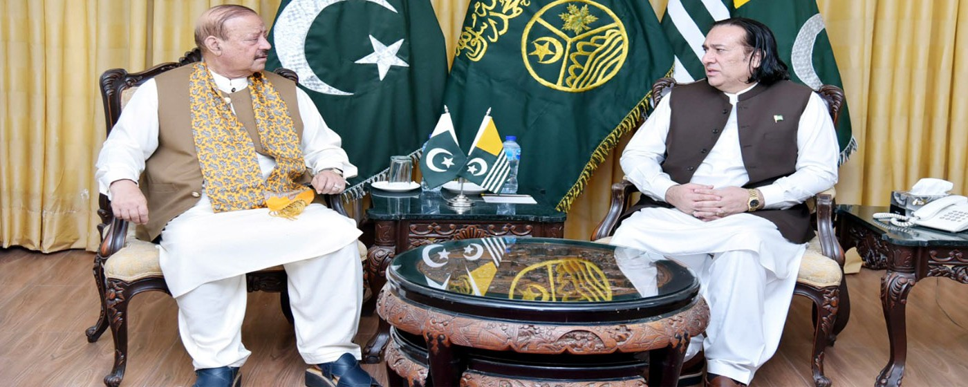 Islamabad:  President AJ&K Sultan Mehmood Chaudhry attends a meeting with Governor Gilgit Baltistan Raja Jalal Hussain Maqpoon.